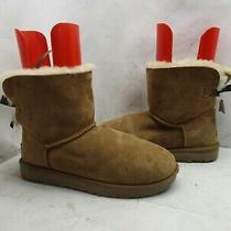 Ugg Australia Chestnut Leather Sheepskin Bow Winter Boots Sz 11 Style 1016501 Photo