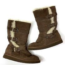 Ugg Australia Chocolate Brown Maddi Triple Buckle Shearling Lined Boot Girls 3 Photo