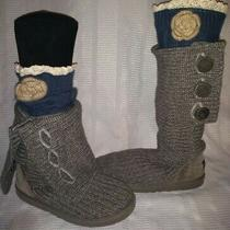 ugg australia classic cardy gray knit sweater boots 5819