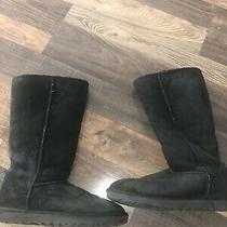 Ugg Australia Classic Ii Tall 5815 Womens Black Shearling Suede Boots Size 9 Photo
