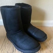 Ugg Australia Classic Short Black Boots Size 7 5825 Suede Sheepskin Usa Women's  Photo