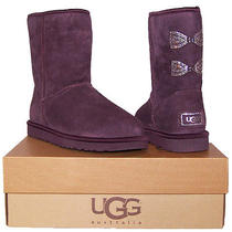 Ugg Australia Classic Short Crystal Bow Port Purple Boots Women 7 New in Box Photo