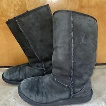 Ugg Australia Classic Tall 5815 Black Shearling Lined Womens Size 6 Photo