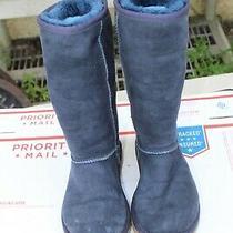 Ugg Australia Classic Tall Blue  Suede Sheepskin S/n 5815 Womens Boots Size 5 Photo