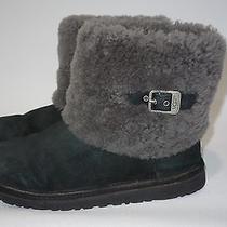 Ugg Australia Ellee Black Boots Short Ankle Cuff Sheepskin Fur Girls 6/women's 7 Photo