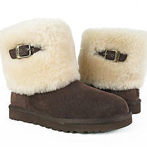Ugg Australia Ellee Espresso Brownsheepskin Fur Cuff Boots Womens 8 New Photo