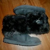 Ugg Australia Ellee Women's Black Fur Trim Booties Boots 160 Sz 5 Uggs Photo