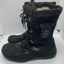 Ugg Australia Event Waterproof Women's Boot Sheepskin Black Lace-Up Size 8 Euc Photo