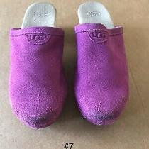 Ugg Australia Evie Suede Wooden Clogs Purple Cactus Youth Girls Sz 13 Photo