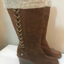 Ugg Australia Felicity Tall Brown Suede Wedge Shearling Lace Zip Boots Sz 7 Photo