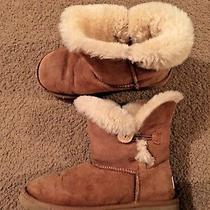 Ugg Australia Girls 5991 Bailey Button Boots Chestnut Sheepskin Size 3 Photo