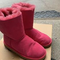 Ugg Australia Girls Bailey Bow Pink Suede Boots Shoes Size 5 Youth/ 7 Women Photo