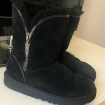 Ugg Australia Girls Black Zipper Boots 1016992k Youth Size 2 Photo