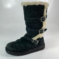 Ugg Australia Girls Maddi Tall Winter Boots Black Leather Suede Buckle Strap 3 Photo