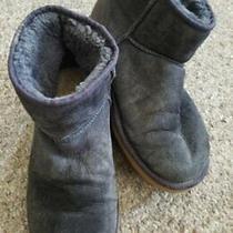 Ugg Australia Gray Classic Mini Suede Boots Sheepskin Lined Ladies Size 9 Photo