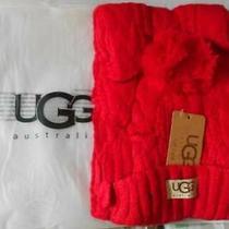 Ugg Australia Isla Lurex Cable Scarlett Scarf Red 13