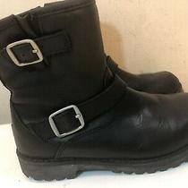 Ugg Australia Kids Harwell Moto Boots Black Leather Buckle Straps Zip Size 13 Photo