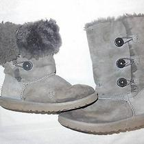 Ugg Australia Ladies 5 Boots Slip on Gray Leather Sheepskin Buttons Tall Short Photo