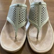 Ugg Australia Ladies 7.5 Whiteleather Solena Sandals Wedge Thong Perforations Photo