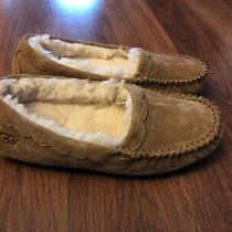 Ugg Australia Leather Fur Chestnut Womens Size 5 Scalloped Mocassin Slippers New Photo