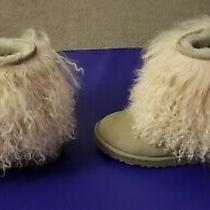 Ugg Australia Lida Mongolian Sheepskin Cuff Gray ( Seal) With Ivory Curly Fur 7 Photo