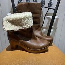 Ugg Australia Lynnea 1958 Brown Leather Sheepskin Boots Women's Size 8 Photo
