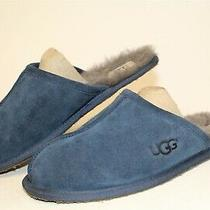 Ugg Australia Mens 11 Blue Suede Slip on Slides Slippers Scuffs House Shoes  Photo