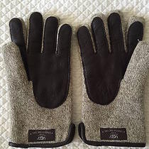 Ugg Australia Mens Wool Gloves W/ Leather Palm & Lamb Lined Small/medium Photo