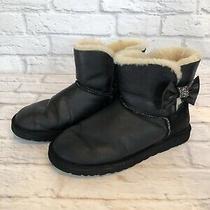 Ugg Australia Mini Bailey Bow Crystal Womens Size 8 Black Boots 1004948 V1g Photo