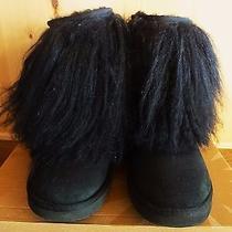 Ugg Australia Mongolian Sheepskin Cuff Black  Women 7  Great Condition Hologram Photo