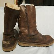 Ugg Australia Nash Classic Brown Leather Sheepskin Boots Sn 3010h Size 4 Photo