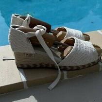 Ugg Australia Open Toe Canvas Jute Wedge Heels Sandals Shoes Sz 6 S/n 1652 Photo
