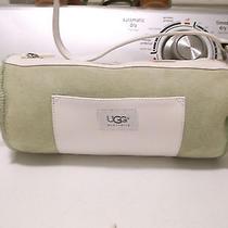 Ugg Australia Patch suede& Sheepskin Sage green&white Barrel Shoulder Handbag  Photo