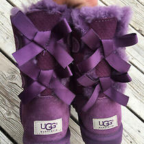 Ugg Australia Purple Bailey Bow Shearling Exotic Scales Boot 1007526 Size 5 Photo