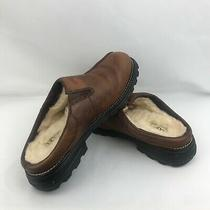 Ugg Australia Sheepskin Lined Mule Slides 5348 Brown Leather Womens Size 9  Photo