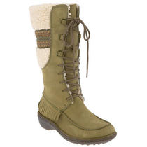 Ugg Australia Shoreline Tall Leather Boots Size 5 New Olive Shearling  Fringe Photo