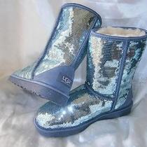 Ugg Australia Short Classic Boots Dolphin Blue Sparkles Sequins Us Sz 7 / 38 Photo