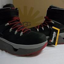 Ugg Australia Size 13 M Hearst Black Ankle Winter Boots Leather New Mens Shoes Photo