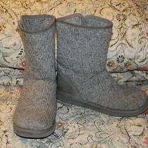 Ugg Australia Size 8 Gray High Ankle Knit Sweater One Button Boots Style3176 Photo