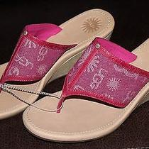 Ugg Australia Solena Denim Wedge Sandals 9m Raspberry Pink 110 New W/o Box Photo