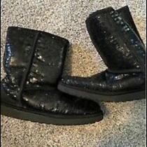 Ugg Australia Sparkle Black Boots Sz 9 Sequin Short Women's Photo
