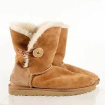 Ugg Australia Tan Suede Women's Bailey Button Shearling Lined Short Boots Sz 8 Photo