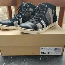 Ugg Australia Taylah Woven Suede Shoes Sneakers Womens Stripe 1011221 Black 7 Photo