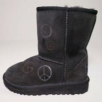 Ugg Australia Toddler Classic Black Sheepskin Winter Boots Kids Size 11 Photo