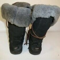 Ugg Australia Whitley Tall Boots Women's Black Leather Insulated 5230 - Us 9 Photo