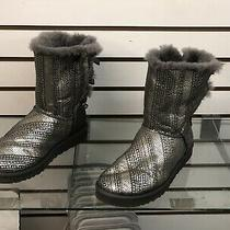 Ugg Australia Women Grey Silver Bailey Bow I Do Boots With Bling 1004791 Sz 10 Photo
