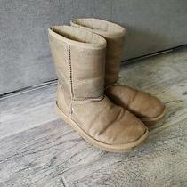 Ugg Australia Women's 5825 Classic Short Sheepskin Boots Gold Metallic Size 6 M Photo