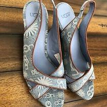 Ugg Australia Women's Blue Hazel Denim Slingback Wedge Heel Sandals Photo