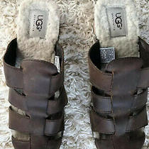 Ugg Australia Women's Brown Leather Slide Mules Clog Size 7 Slip on Casual Photo