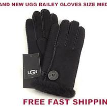 Ugg Australia Women's Classic Bailey Gloves Black Size M Medium New With Tags Photo